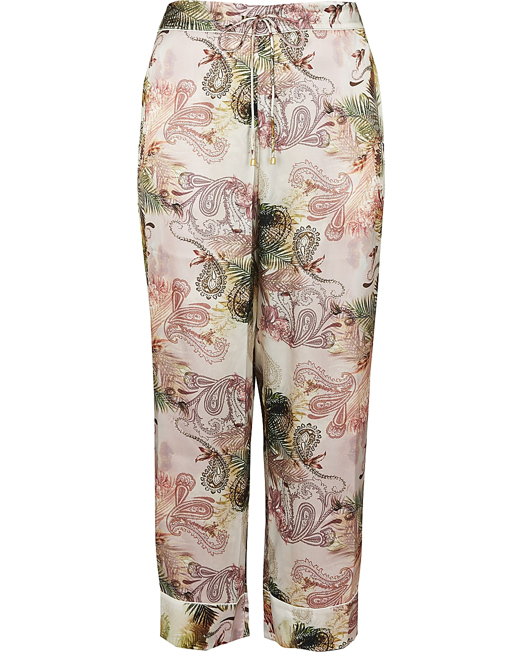 Plus pink floral printed pyjama trousers