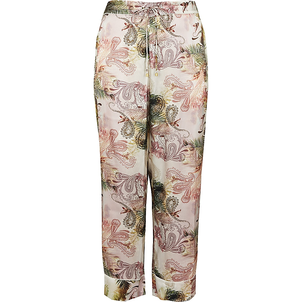 Plus pink floral printed pyjama trousers