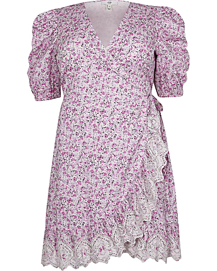 Plus pink floral wrap mini dress