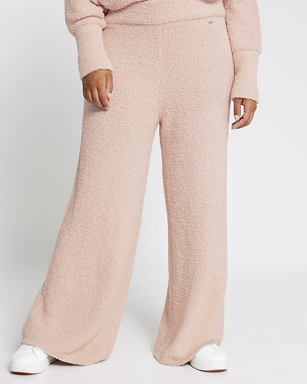 Plus pink fluffy knit wide leg trousers