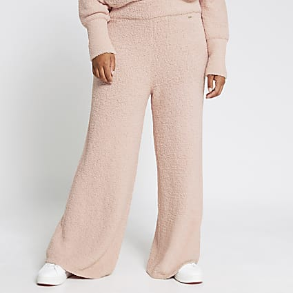 Plus pink fluffy knit wide leg trousers