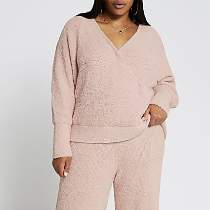 Plus pink fluffy knit wrap long sleeve top