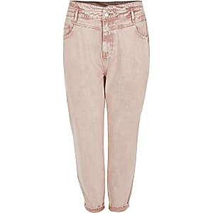 RI Plus - Roze high rise tapered jeans