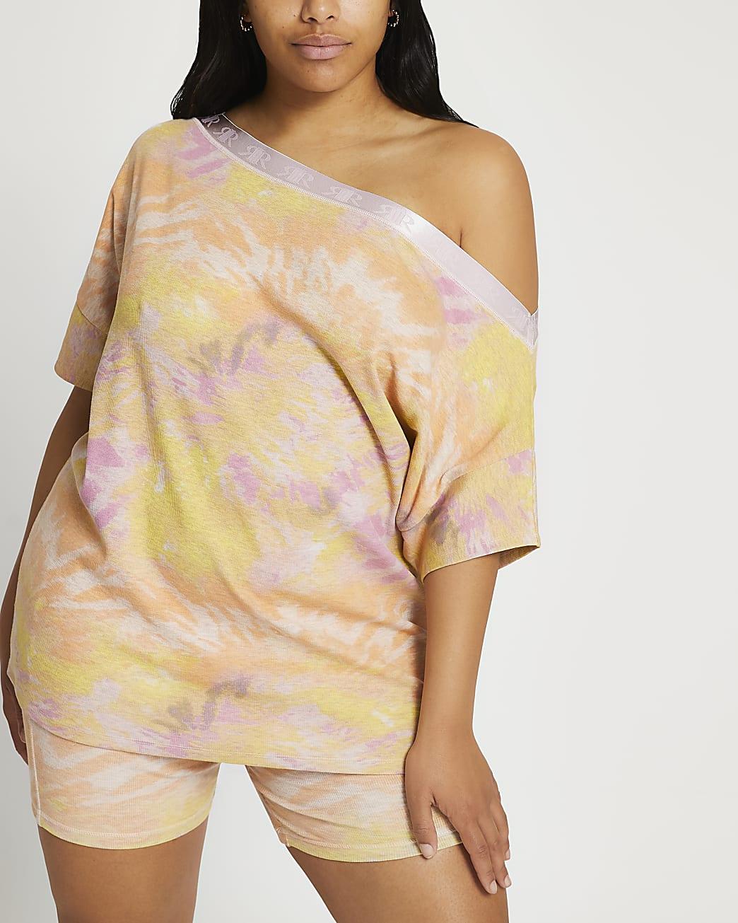 Plus pink Intimates tie dye asymmetric top