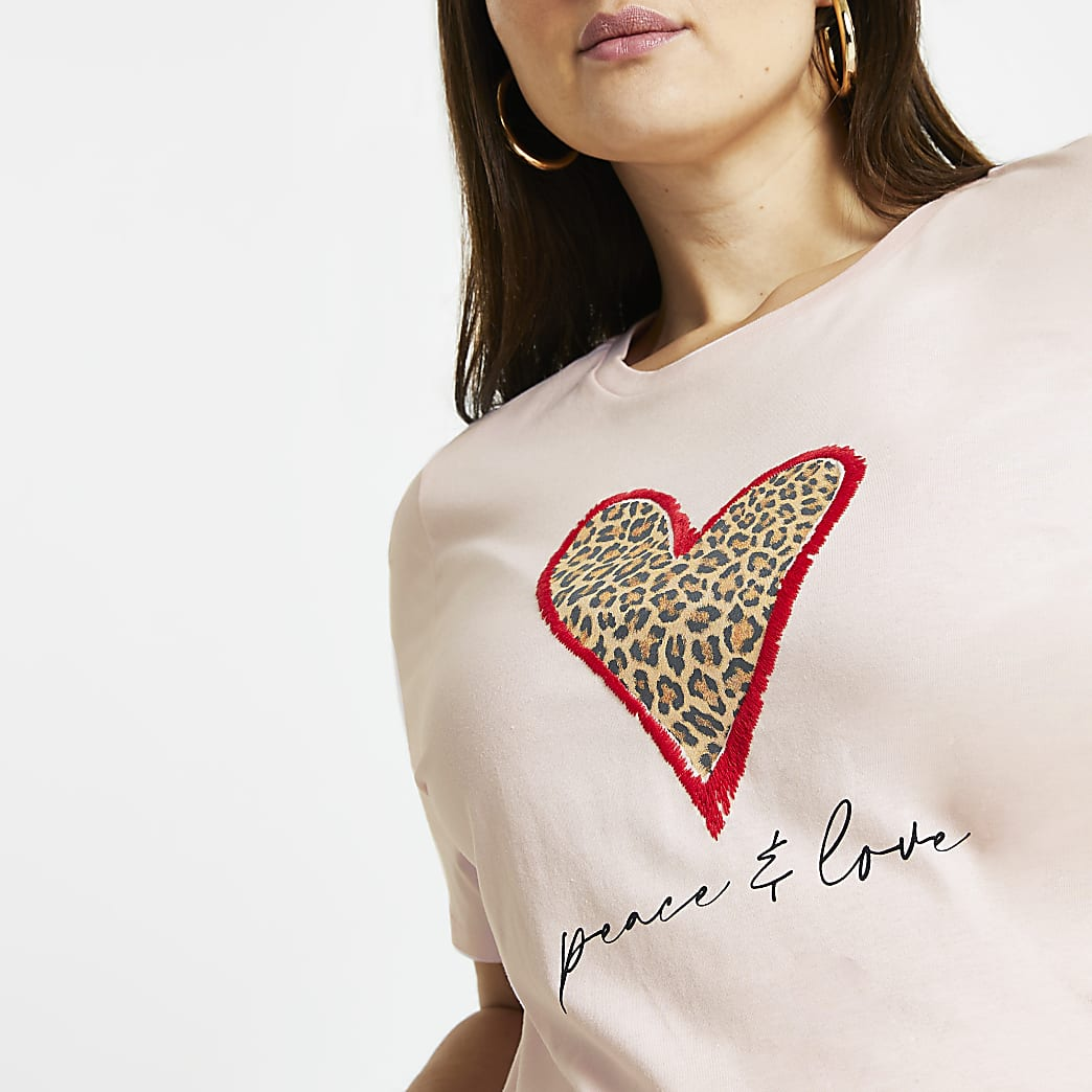 Plus pink leopard heart peace love t-shirt