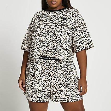 Plus pink leopard print jersey pyjama set