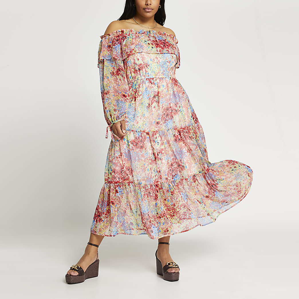Plus pink long sleeve bardot floral dress