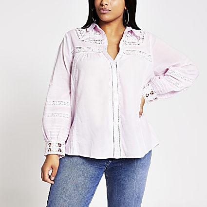 Plus pink long sleeve embroidered shirt