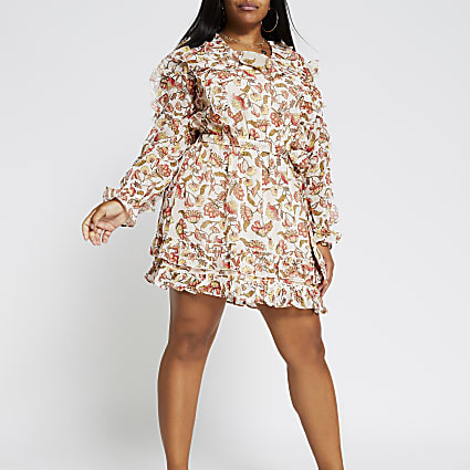 Plus pink long sleeve frill floral dress
