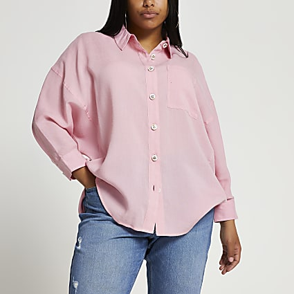 Plus pink long sleeve oversized shirt