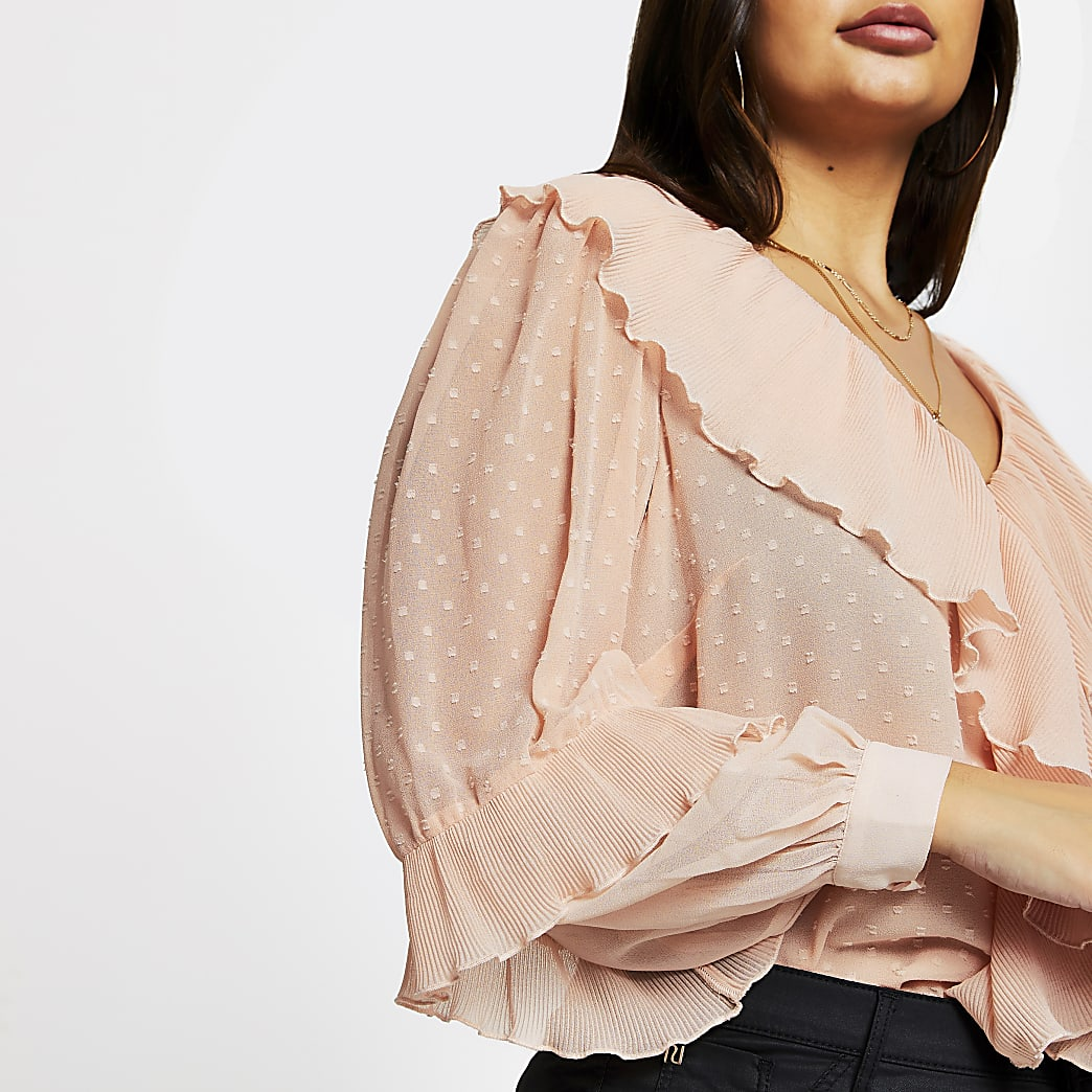 Plus pink long sleeve v neck ruffle blouse