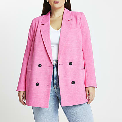 Plus pink longline double breasted bLazer