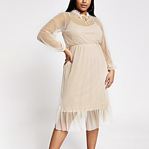 Plus pink midi smock dress