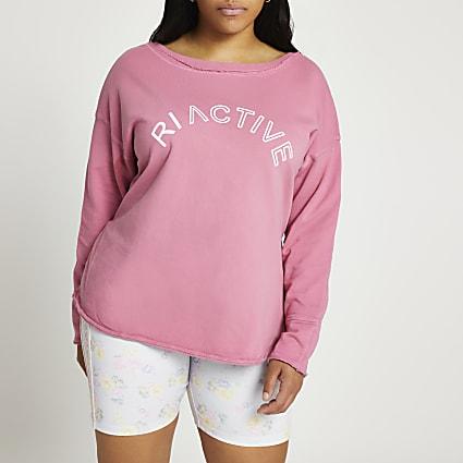 Plus pink open neck RI Active sweatshirt
