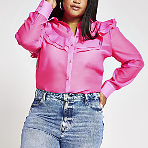 Plus pink organza frill front shirt