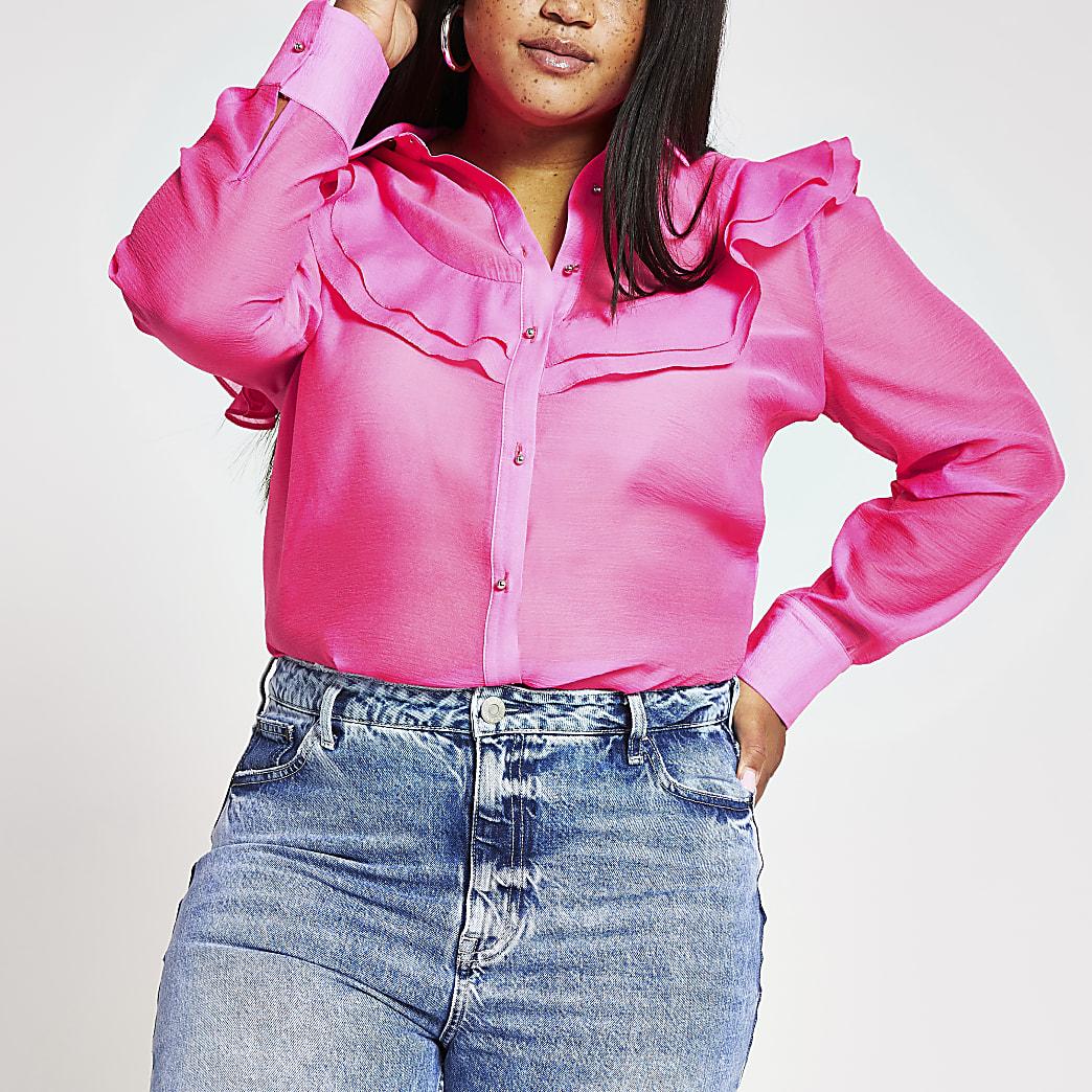 Plus pink organza frill front shirt