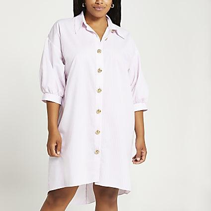 Plus pink oversized shirt dress