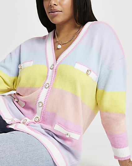 Plus pink pastel stripe cardigan