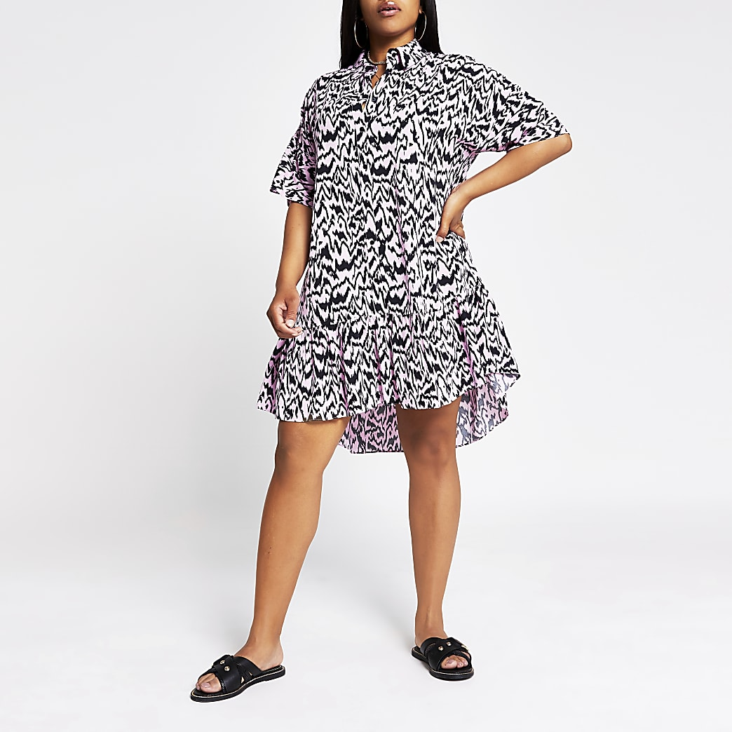 Plus pink print shirt smock mini Dress