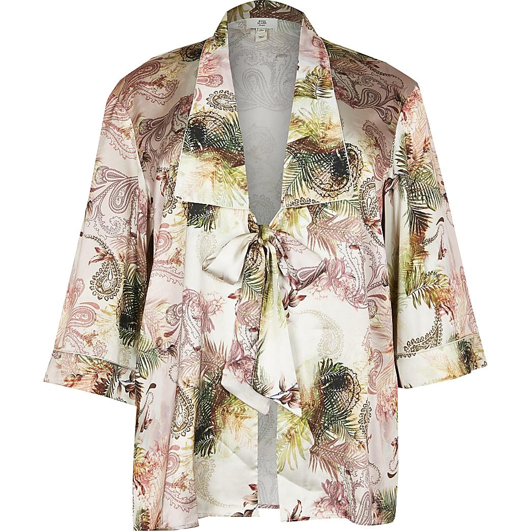 Plus pink printed kimono robe