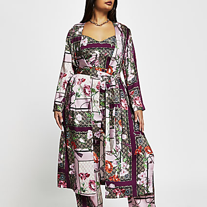 Plus Pink scarf print duster jacket