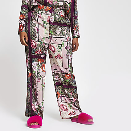 Plus pink scarf print wide leg trousers