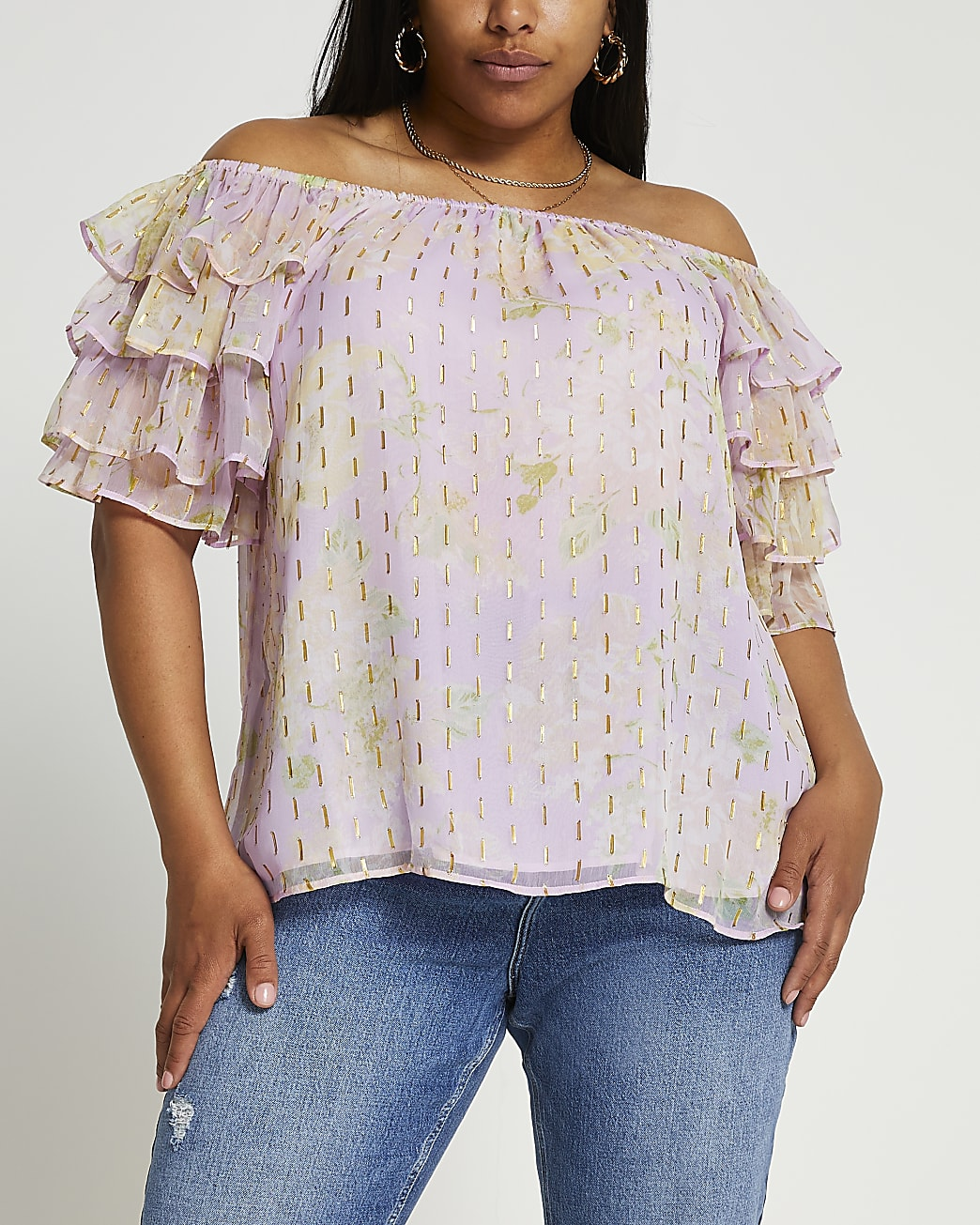 Plus pink short frill sleeve bardot top
