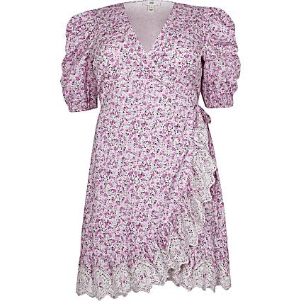 Plus Pink Short Sleeve Wrap Tea Mini Dress