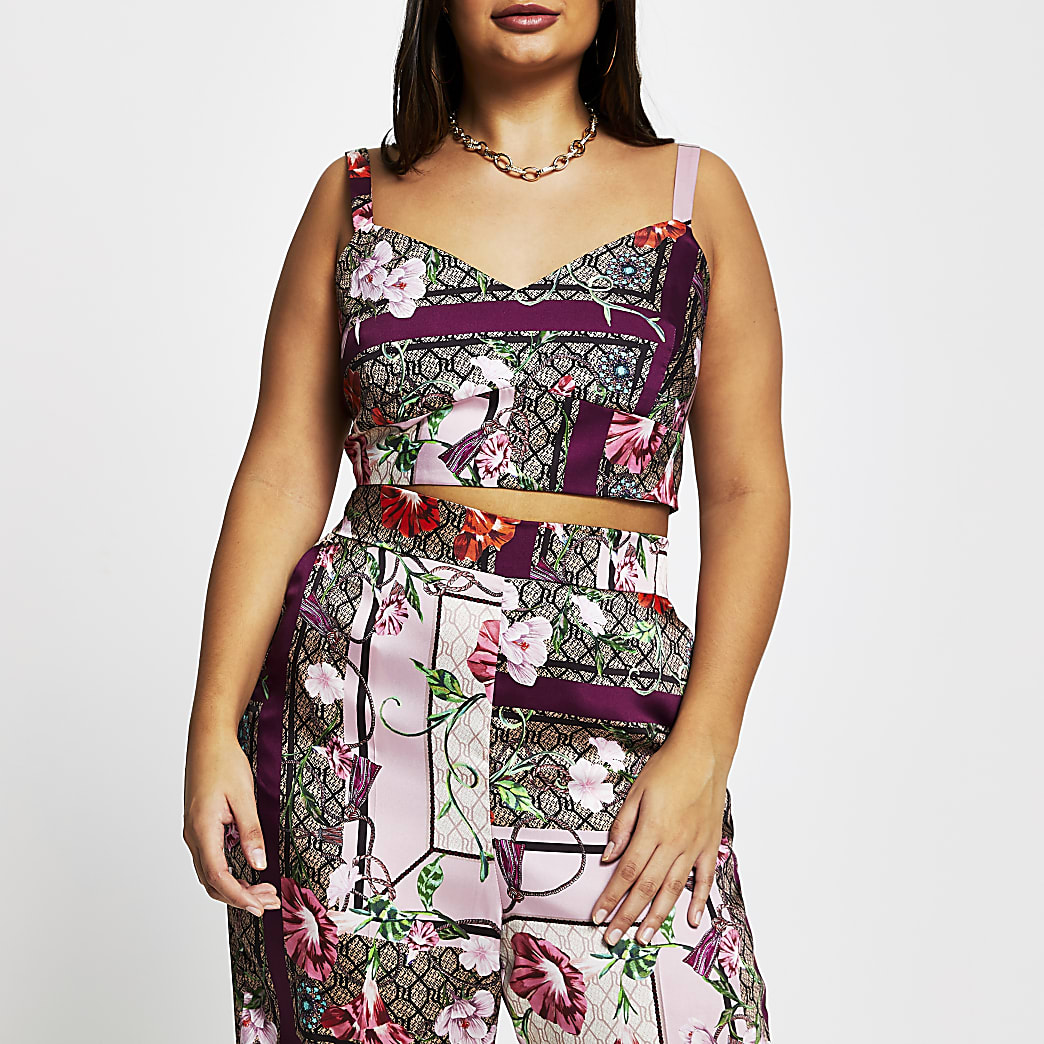 Plus pink sleeveless floral bralet top