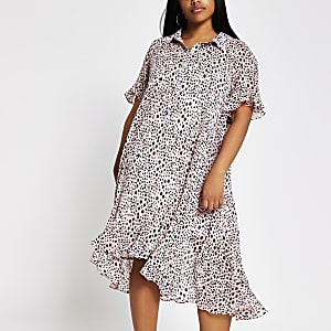 Plus pink spot print frill midi shirt dress
