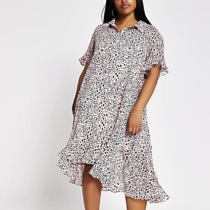 Plus pink spot print frill midi shirt dress