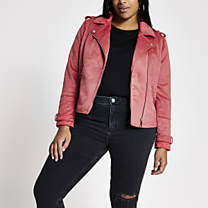 Plus pink suedette quilted biker jacket