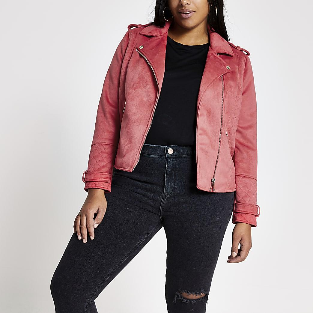 Plus pink suedette quilted biker jacket