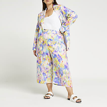 Plus pink tie dye belted culottes