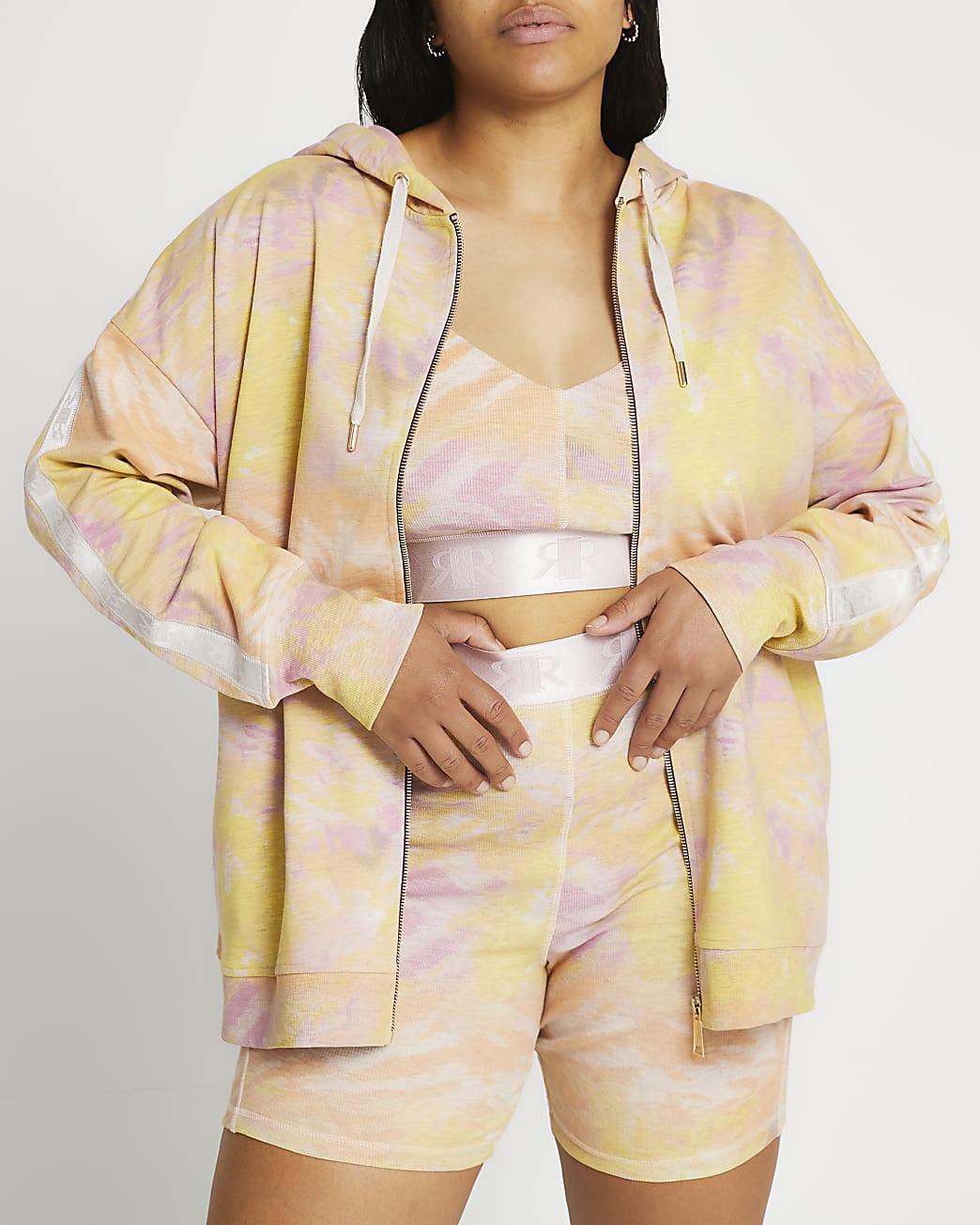 Plus pink tie dye hoodie