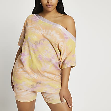 Plus pink tie dye Intimates bardot top