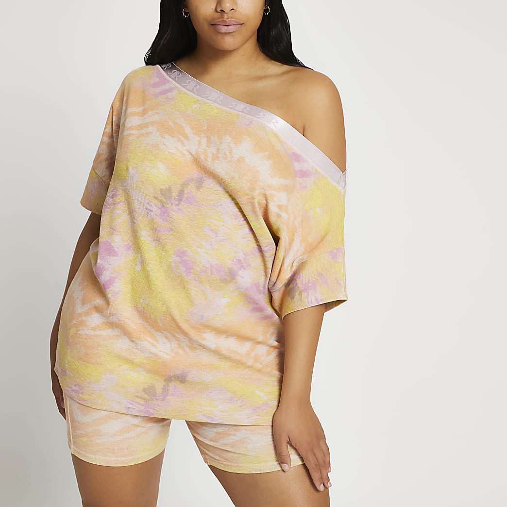 Plus pink tie dye Intimates bardot top