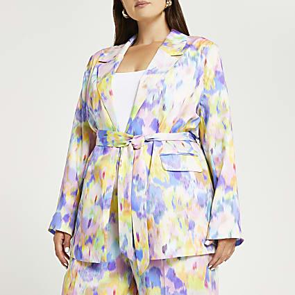 Plus pink tie dye print blazer
