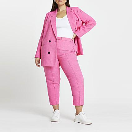 Plus pink trim detail cigarette trousers