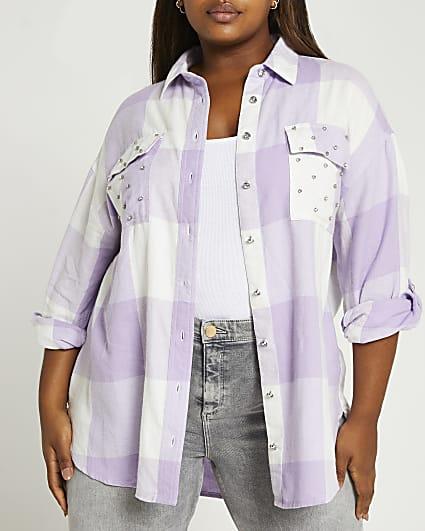 Plus purple check oversized shirt