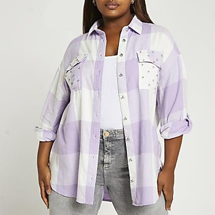 Plus purple check shirt