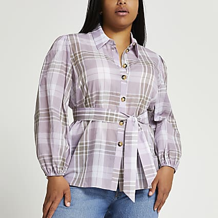 Plus purple check waisted belted shirt