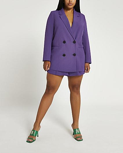 Plus purple double breasted blazer