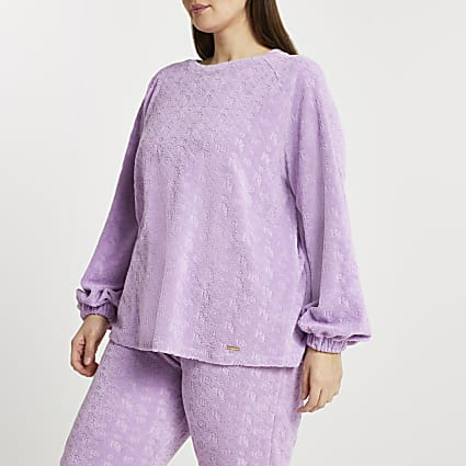 Plus purple embossed puff sleeve sweatshirt