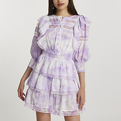 Plus purple long sleeve tie dye dress