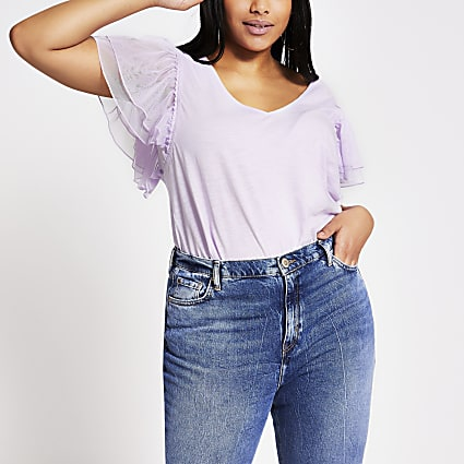 Plus purple mesh frill short sleeve T-shirt
