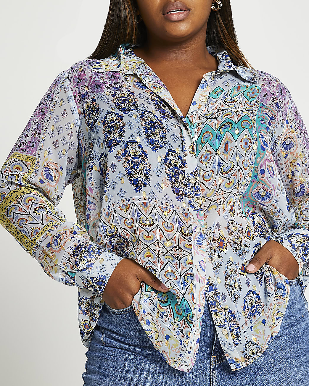 Plus purple mix print shirt