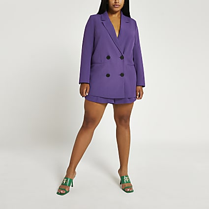 Plus purple structured double breasted blazer