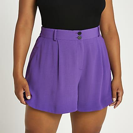 Plus purple structured shorts