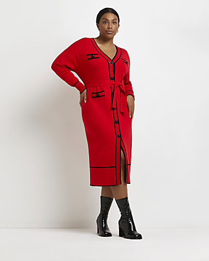Plus red belted knitted cardigan